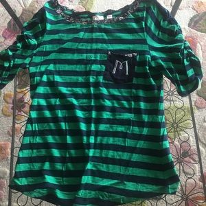 Anthropologie Striped M initial Shirt